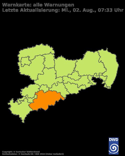 Aktuelle Wetterwarnungen für Sächsische Schweiz-Osterzgebirge - Tiefland