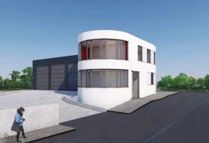 Außenansicht Hofeinfahrt und Fahrzeughalle